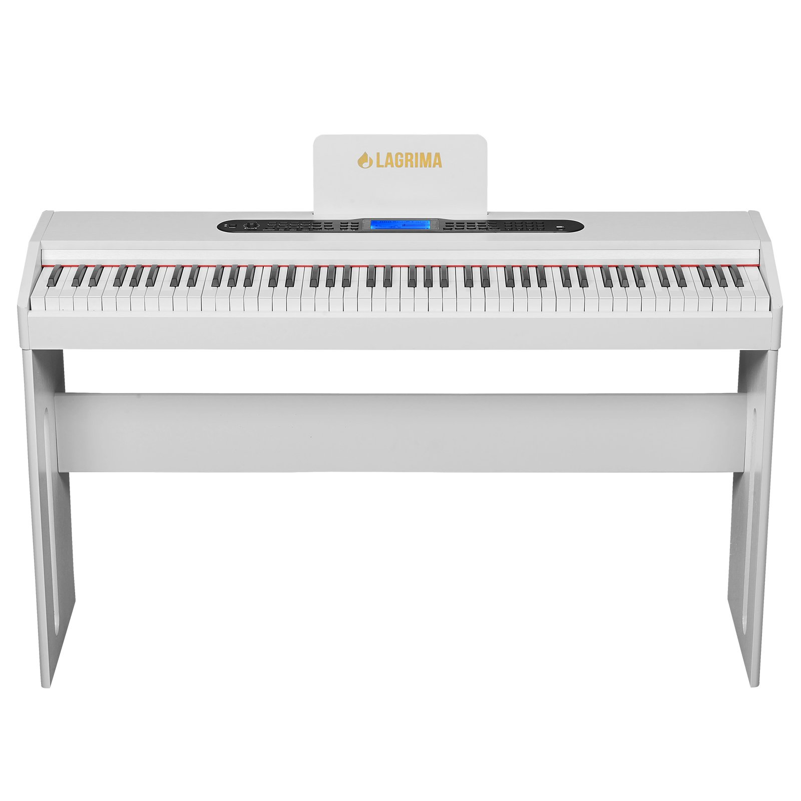 LAGRIMA White Digital Piano, 88 Keys Electric Piano Keyboard for Beginner/Adults W/Music Stand+Dust Cover+Power Adapter+1-Pedal Board+Instruction Book+Headphone Jack by LAGRIMA (Image #2)