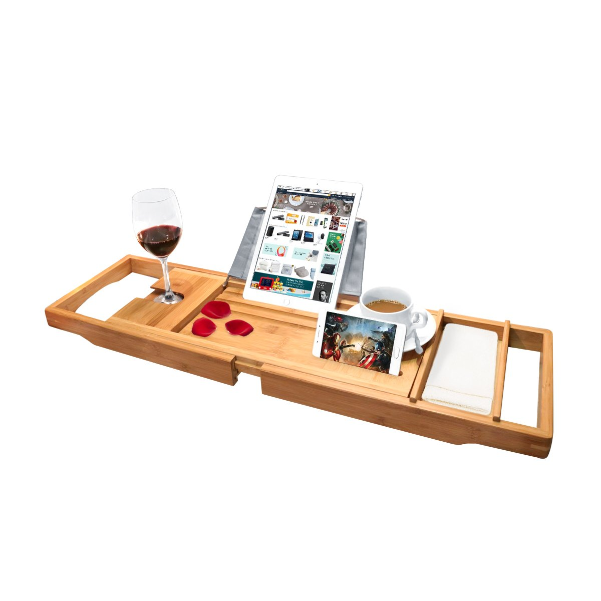 Bamboo Bathtub Caddy Tray with Extending Sides, Tablet Holder, Cellphone Tray, Wine Glass Holder & Shower Organizer- One or Two Person Bath - Fit Any Tub for Home Spa CoastaCloud