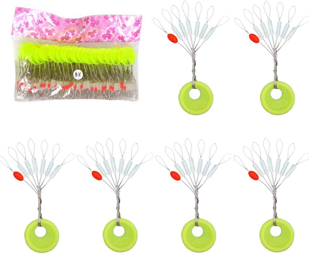 300Pcs Fishing Bobber Stoppers Oval Cylinder Float Line Sinker Stops Space Bean