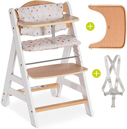 Hauck High Chair Beta Plus - Wooden Highchair/Height Adjustable with 8  Point Safety Harness and Large Food Tray - White Nature