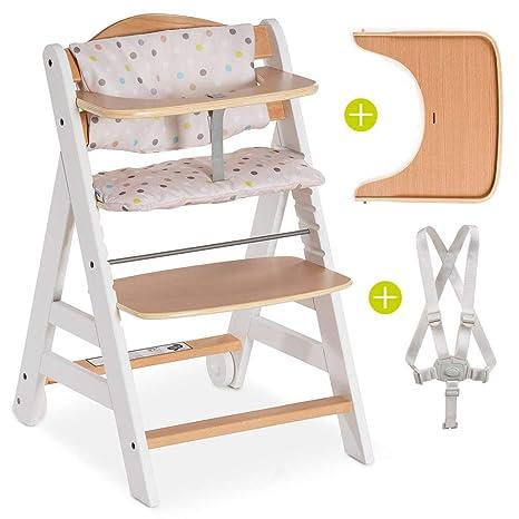 Hauck Beta Plus - Trona de madera evolutiva bebés, incluye cinturón, bandeja para comer, cojín gratis y ruedas, altura regulable, hasta 90 kg - color ...