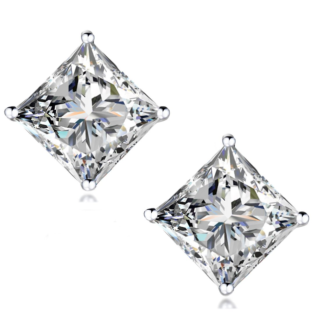 ''STUNNING FLAME'' 18K Gold Plated Silver Princess Cut Simulated Diamond CZ Stud Earrings, 1.6ct