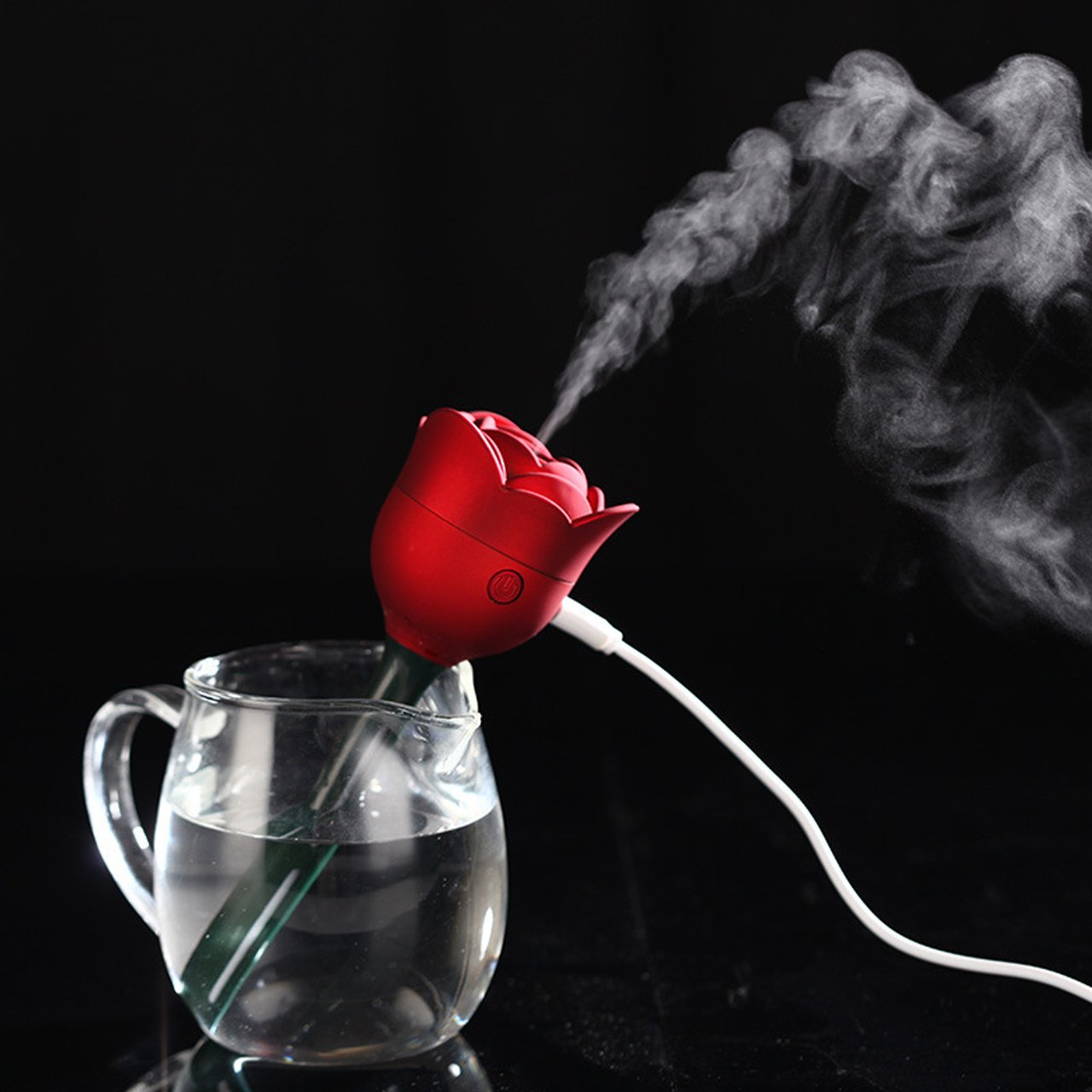 SCS ETC USB Powered Mini and Portable Cool Mist Rose Humidifier-Super Quiet Operation-Red