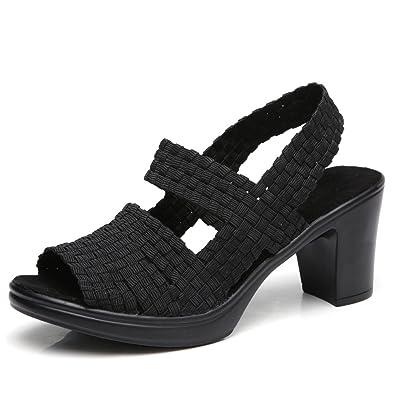 4caa924f720 YKH-YL801heise35 Womens Peep Toe Chunky Block Heel Sandals Wide Woven  Platform Ankle Strap Sandles