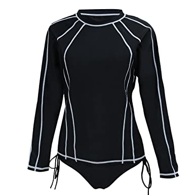 4ff39707b6be7 Just for Plus Women s Plus Size Long Sleeve Rashguard Surf Swimwear Swimsuit  at Amazon Women s Clothing store