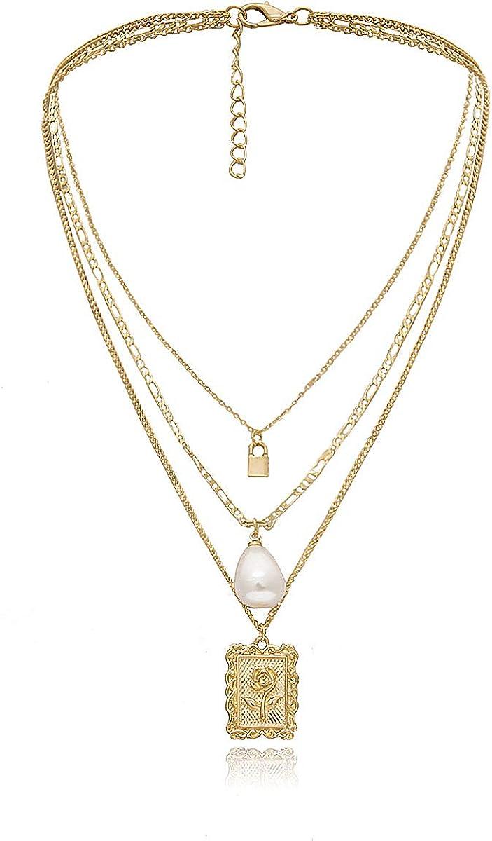 weikexiong Cadena en Capas Rose Square Collar de Perlas Dorado para Mujer Mini Lock Collar Colgante Joyas Regalo Mujer