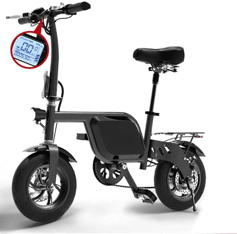 KNFBOK Bici electrica pleglable 48V 6AH batería de Litio llanta Ancha Bicicleta 12 Pulgadas Mini Bicicleta eléctrica Plegable Velocidad máxima de hasta 25 km/h Faros LED: Amazon.es: Deportes y aire libre
