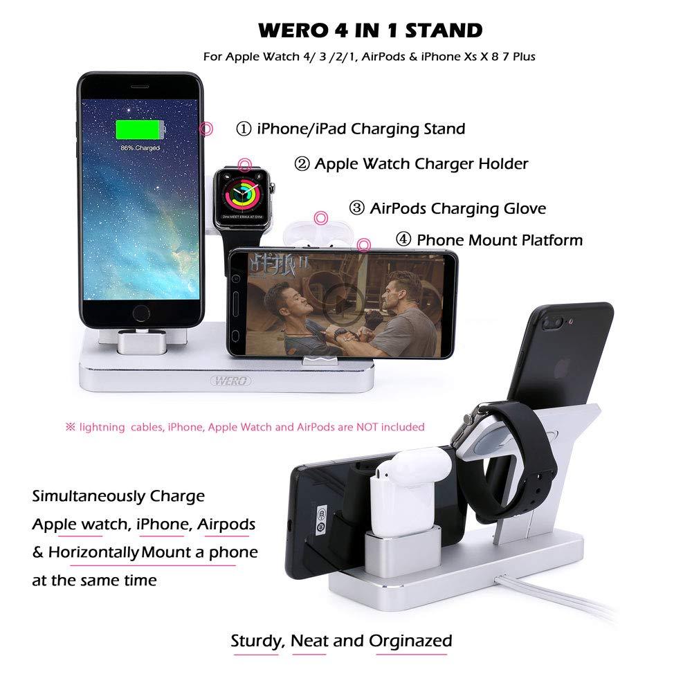 Wero AirPods Soporte de carga para iWatch, estación de carga para iPhone/iPad, soporte de carga [4 en 1 soporte] para Airpods/Apple Watch Series ...