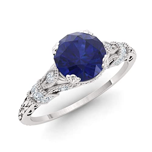 882ea38276f3 Diamondere Natural and Certified White Sapphire and Lab Created Blue  Sapphire Engagement Ring in 925 Sterling