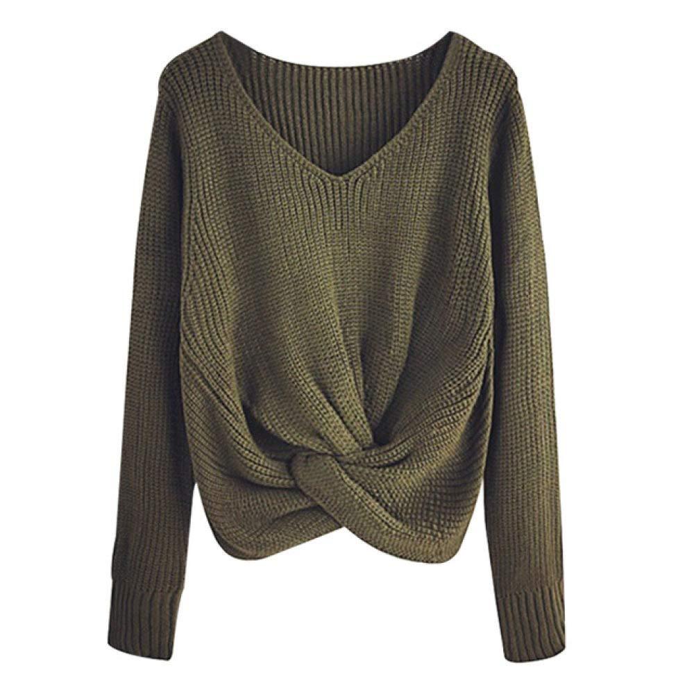 Plus la Taille LYWBLACKSweat-shirtPulls /à Manches Longues de Couleur Unie /à col en v Pull crois/é /à Panneaux nou/és pour Femmes