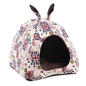 JEELINBORE Iglú para Perro y Gato, Fleece Lavable Casa en Forma de Pirámide Cama para Mascotas Pequeño (S: 35 * 35 * 35CM, Bandera #Rosa): Amazon.es: Hogar