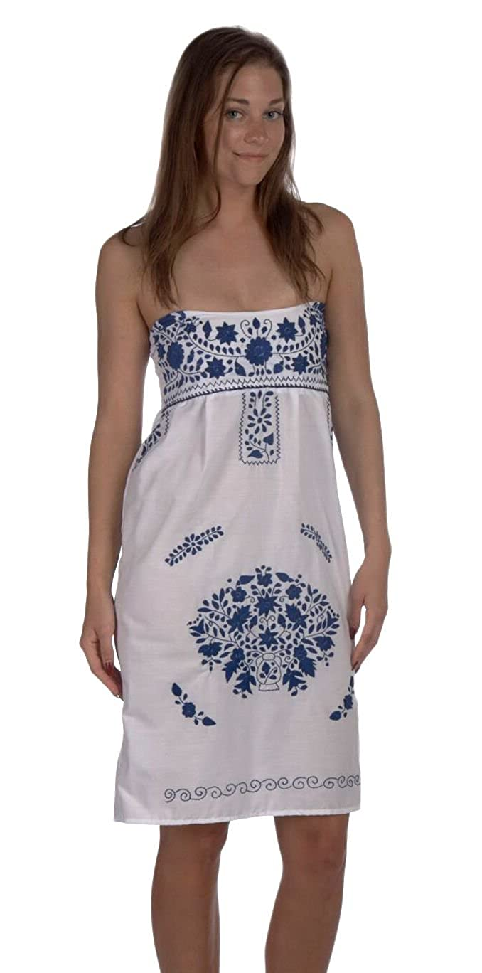 1a8ac02cc0 Women s Handmade White Mexican Strapless Dress Embroidered in Blue -  DeluxeAdultCostumes.com