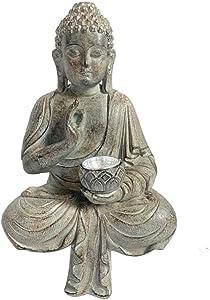 Meditating Sitting Buddha Solar Lights Outdoor Garden Patio Statue Light Religious Ornament,A+Height 10.8inch