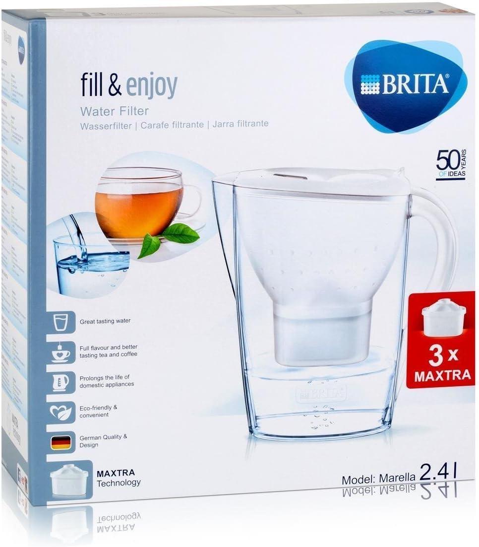 BRITA Marella Jarra y 3 filtros, Blanco, Estándar - 2.4 L: Amazon.es: Hogar