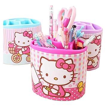 Kehuitong Hello Kitty Student Penholder Multifunción Sujetador de lápiz simple y lindo Caja de almacenamiento de oficina creativa KT Cat Pen Holder ...