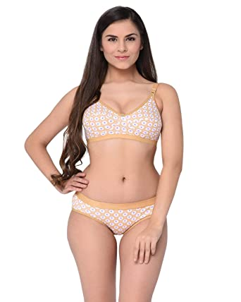 51914f9b07003 Elina Women's Brown Printed Cotton Hosiery Non-Padded C-Cup Bra and Panty  (Set of 1): Amazon.in: Clothing & Accessories