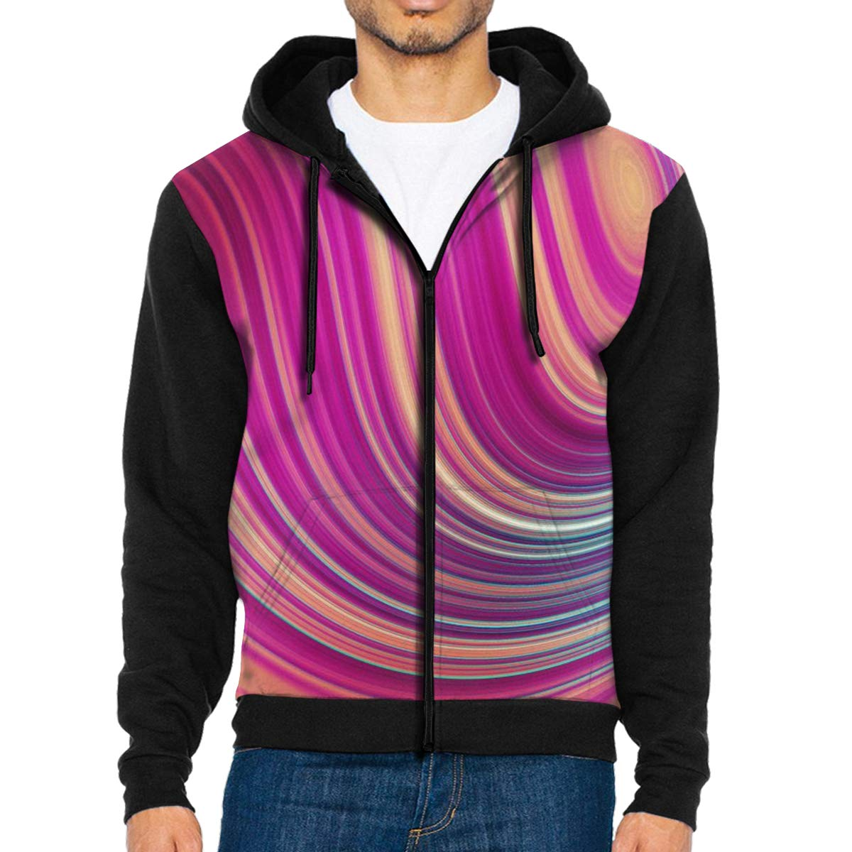 Colorful Moves Lightweight Mans Jacket with Hood Long Sleeved Zippered Outwear
