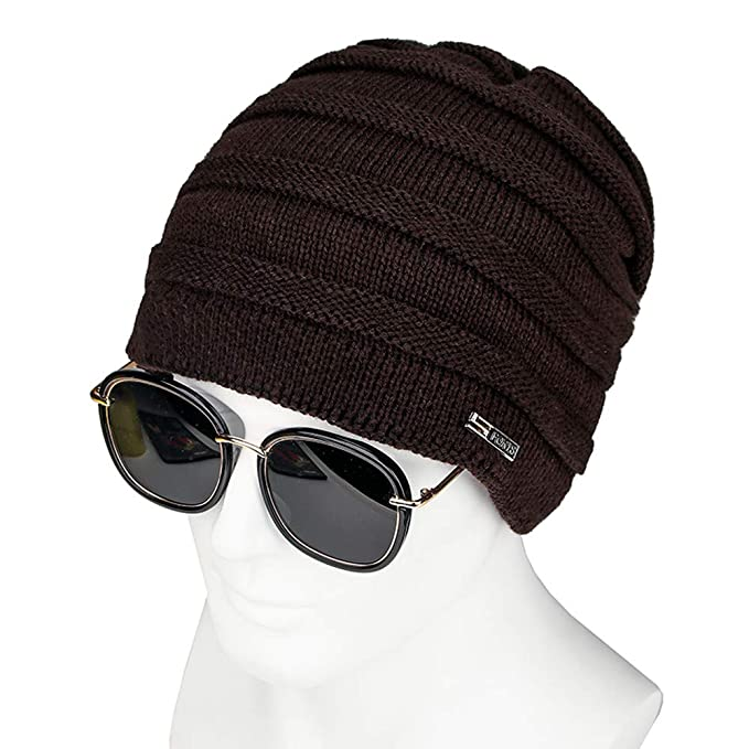 1293d4dd Kingko ® Mens Womens Hat Beanie Cap Unisex Winter Warm Knitted Hats Fleece  Lining Slouch Beanies Caps for Men Women (Brown): Amazon.co.uk: Clothing
