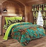 20 Lakes Camo Comforter, Sheet, Pillowcase Set (Full, Teal - Neon Green)
