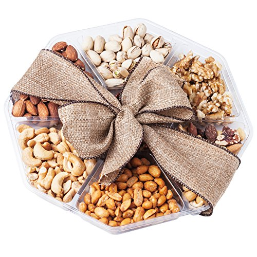 Nutty New Yorker Gourmet Food Nuts Gift Basket, 7 Different Nuts - 19.6 Ounces - Kosher Certified