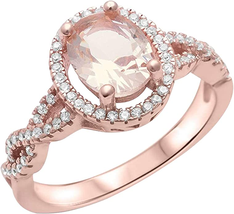 FAB SINGLE BAND OVAL MORGANITE 925 SILVER STAMP RING SZ 6//7//8//9//10//11//12//13