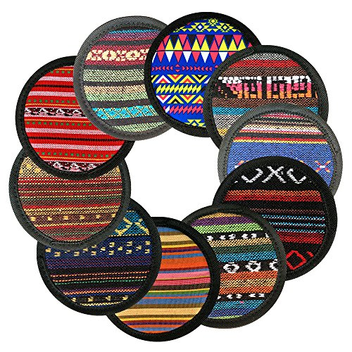 "Best Coasters, Ambielly Coasters for Drinks cup coaster Vintage Ethnic Floral Design Placemat Value Pack, Coffee Coasters,Tea Coasters,Office Coasters,10pcs/Set, 5.12""/13cm (Bohemia)"