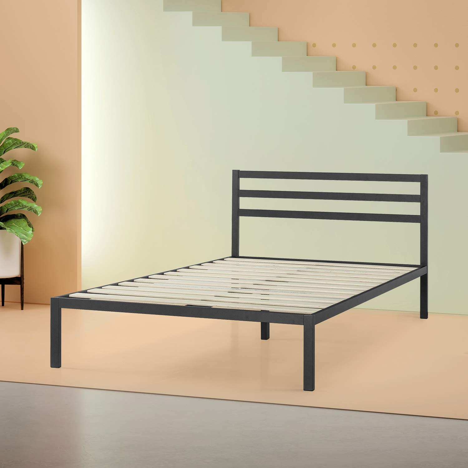 Zinus Mia Modern Studio 14 Inch Platform 1500H Metal Bed Frame / Mattress Foundation / Wooden Slat Support / With Headboard, Full (Renewed) by Zinus