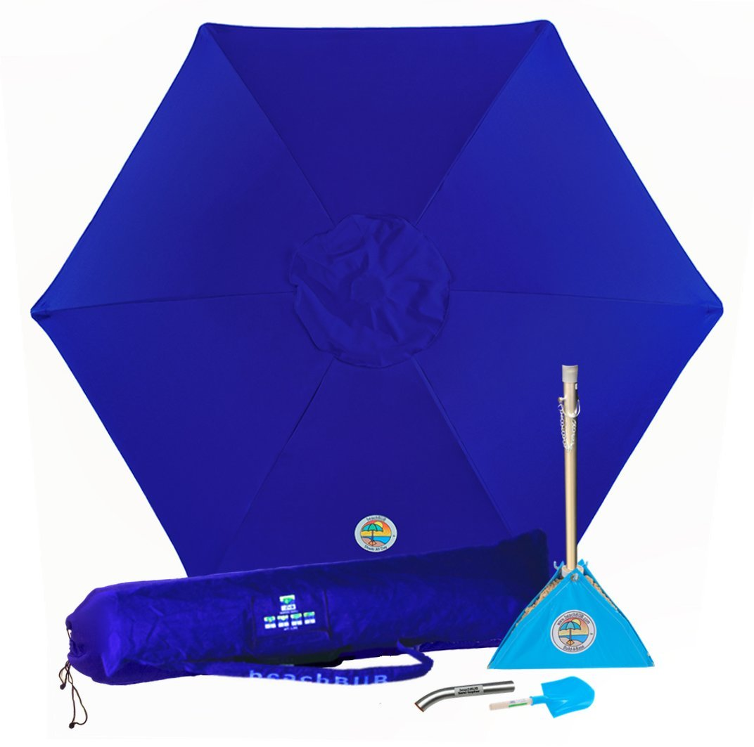 BEACHBUB All-in-One Beach Umbrella System. Includes 7 ½' (50+ UPF) Umbrella, Oversize Bag, Base & Accessory Kit by BEACHBUB