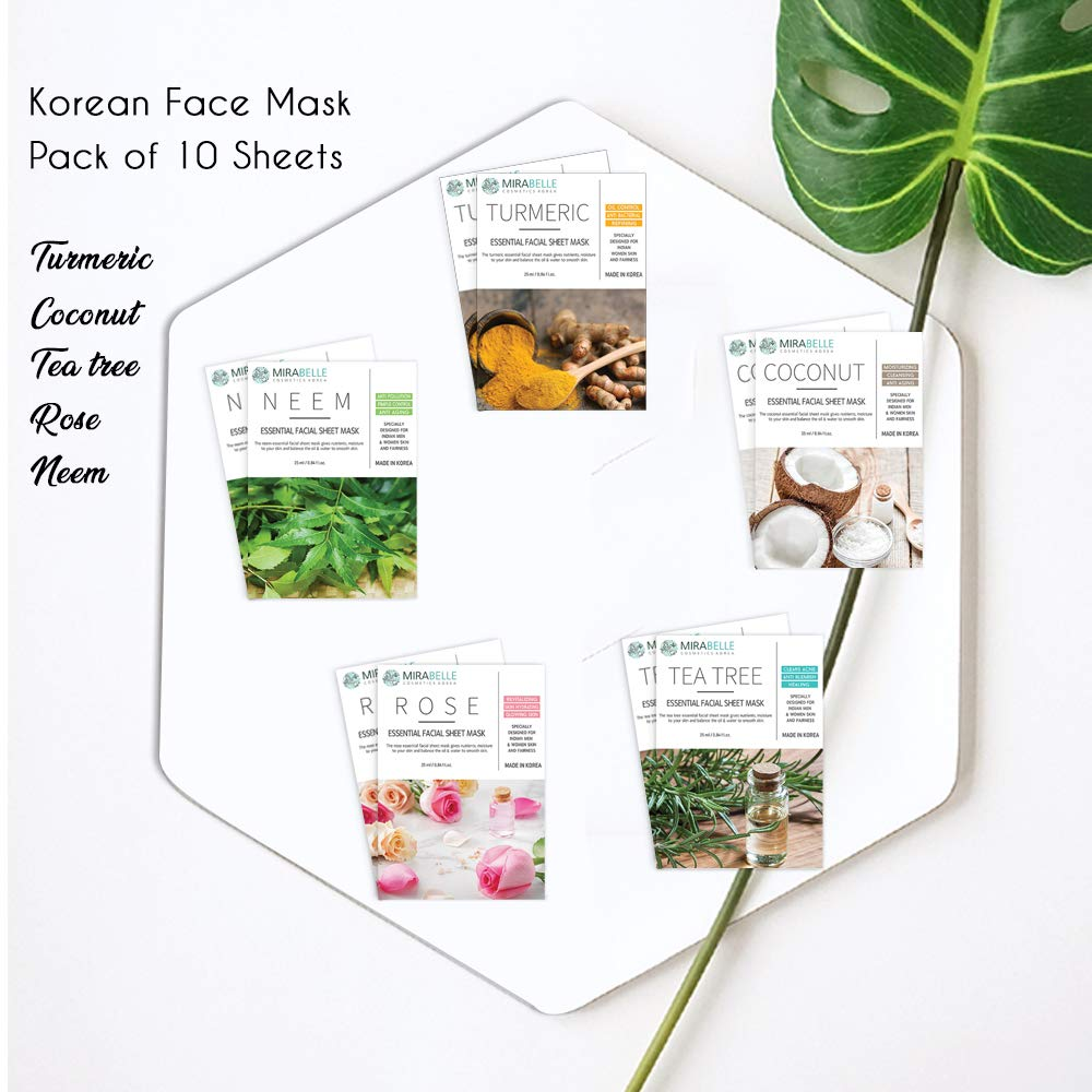 Mirabelle Korean Essential Facial Sheet Mask Combo (Pack of 10- Turmeric, Neem, Rose, Tea Tree, Coconut) Makes Skin Soft & Supple, Improves Skin Tone, Adds Brightness, Eco-friendly, For All Skin Types by Mirabelle