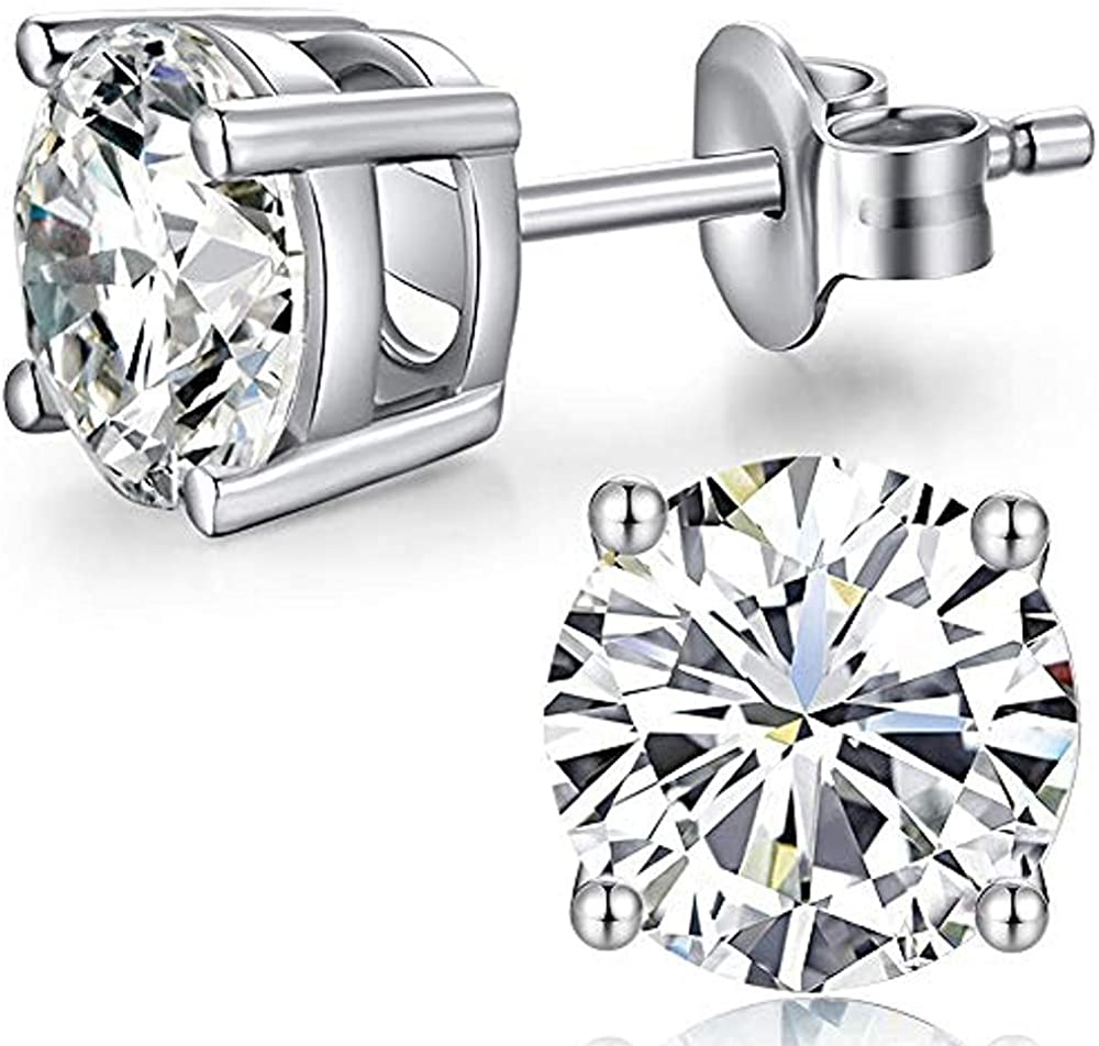 0.40CT Princess Created Diamond Huggie Double Side Earrings Solid 14K White Gold