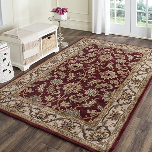 Safavieh Heritage Collection HG628D Handmade Traditional Oriental Red and Ivory Wool Area Rug (8′ x 10′)