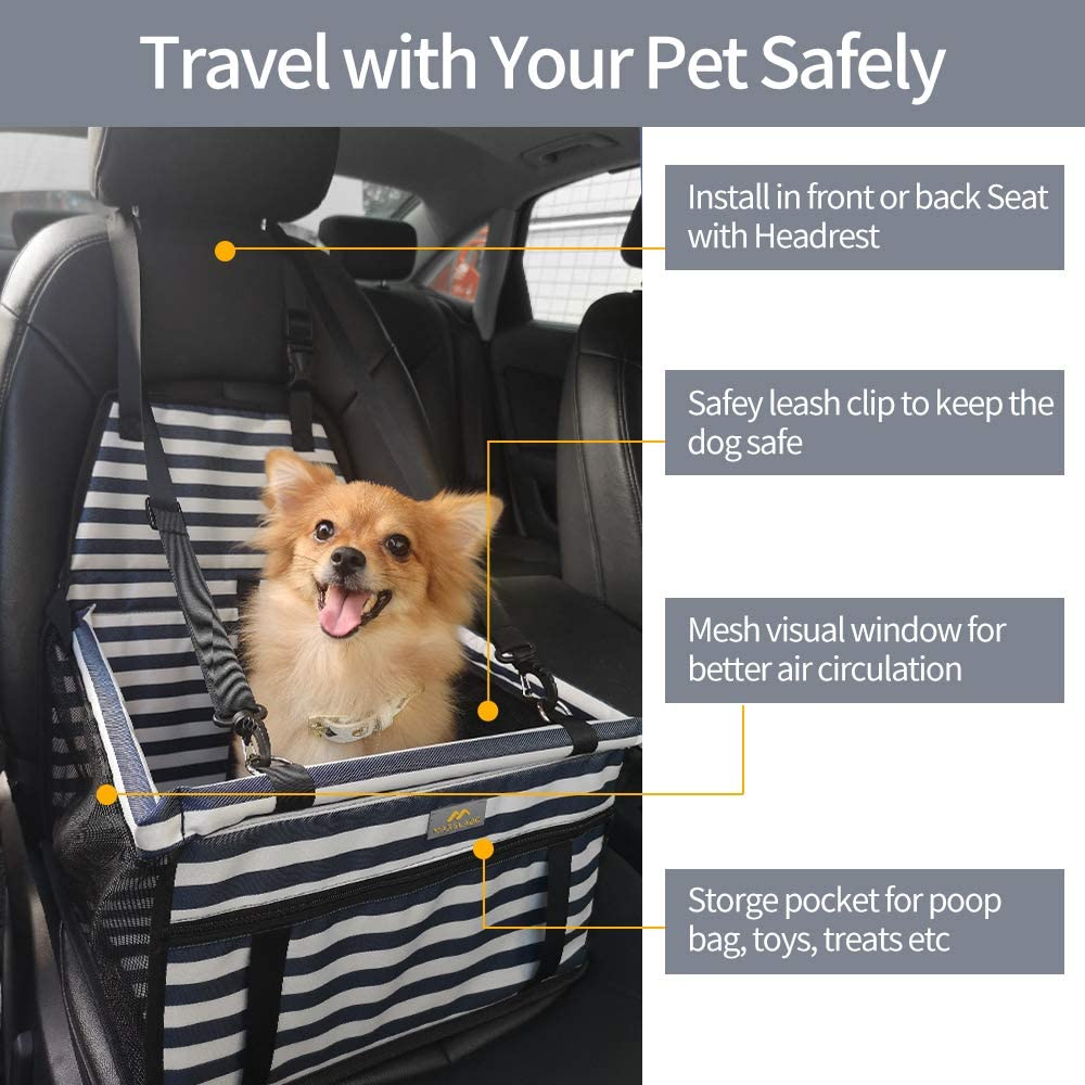 Dog Car Booster Seat with Clip-on Safety Leash Perfect for Small Dogs Up to 20 Lbs MARSLABO Small Dog Car Seat Dog Seat for Car