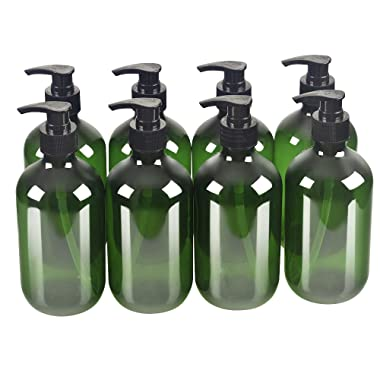 8 Pack Green 500ml 16.7oz Empty Plastic Pump Bottles.Refillable Bottle for Cooking Sauces,Essential Oils,Lotions,Liquid Soaps or Organic Beauty Products(8 Chalkboard Labels as gift)