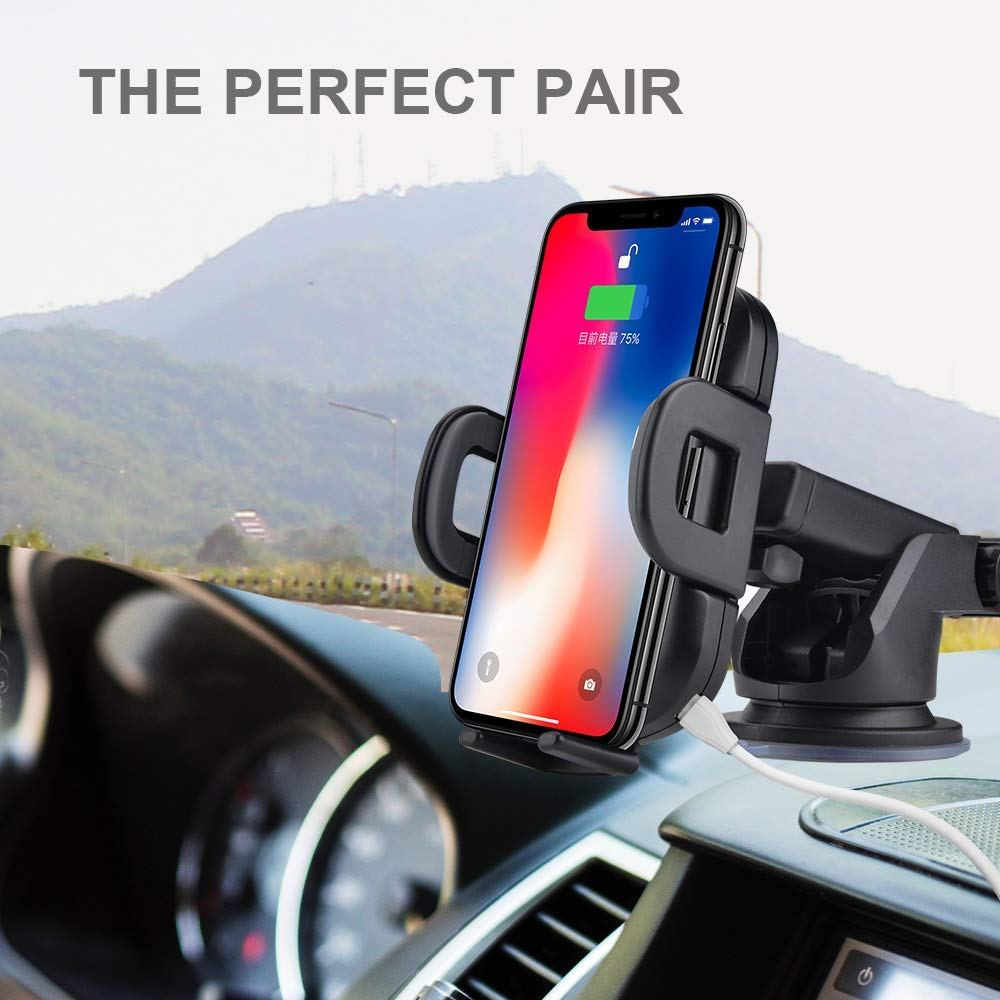 10W Wireless Car Charger Infrared Sensor Phone Holder,Compatible Smart Phones with Wireless Charging Function,Black 4350468205 Wireless Car Charger Mount BENEVE Fast Wireless Car Charger