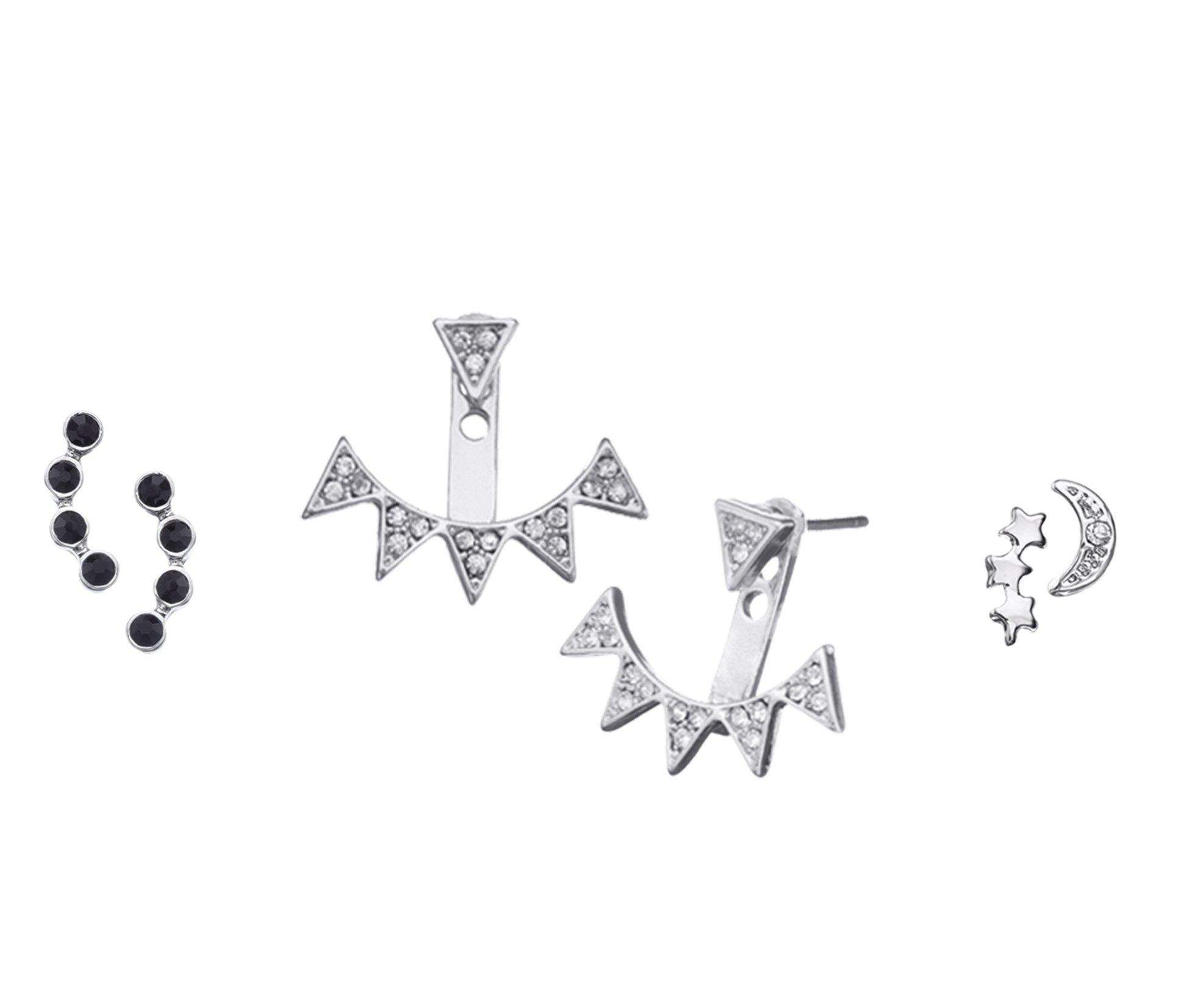 Rock Queen Earring Stud Set (silver-plated-base)