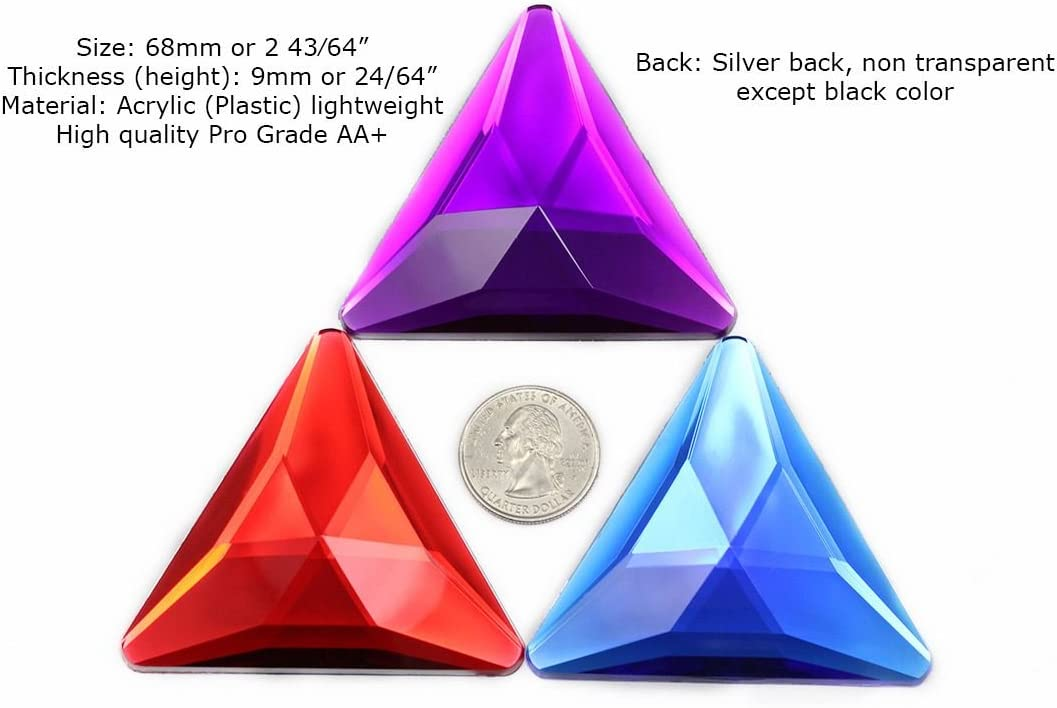 Allstarco 68mm Blue Sapphire H104 Flat Back Extra LargeTriangle Cosplay Gems Acrylic Big Rhinestones Plastic Jewels for Crafts Embelishments 2 Pieces