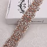 Rhinestone Trim for Bridal Sash Wedding Crystal Trimming Rose Gold Claws DIY Belts and Dress Decorat