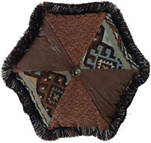 HiEnd Accents Rio Grande Southwestern Tweed Faux Leather Pieced Hexagon Throw Pillow w Fringe, 1 6 x 1 6 , Blue Brown
