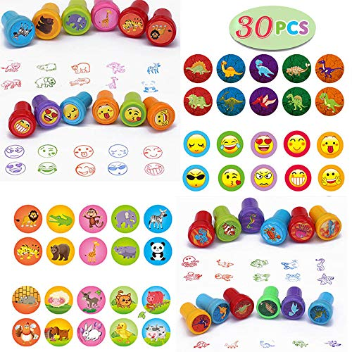 Assorted Stamps for Kids Self-Ink Stamps, Different Designs for Party Favor Gifts, Easter Egg Stuffers, Teacher Stamps, Arts & Crafts Projects, Set of 36 (B)