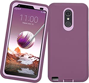 LG Stylo 4 Plus Case, Hybrid High Impact Resistant Rugged Full-Body Shockproof Tri-Layer Heavy Duty Case with Built-in Screen Protector for LG Stylo 4/ LG Stylo 4 Plus (Wine/Pink)