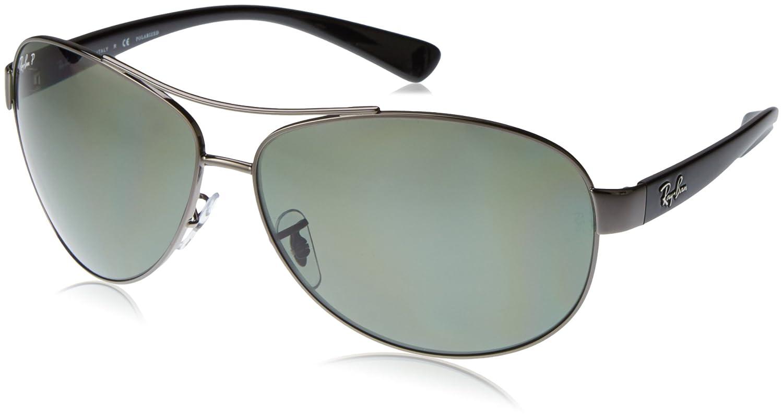 TALLA 67. Ray-Ban Polarizan gafas de sol de abrigo de aviador en Gunmetal verde RB3386 004/9A 67