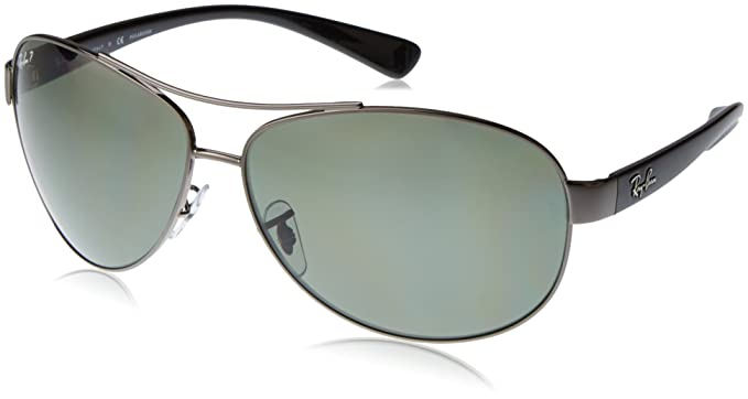 b1276e9bb5 Amazon.com  Ray-Ban RB3386 - GUNMETAL Frame POLAR GREEN Lenses 63mm ...