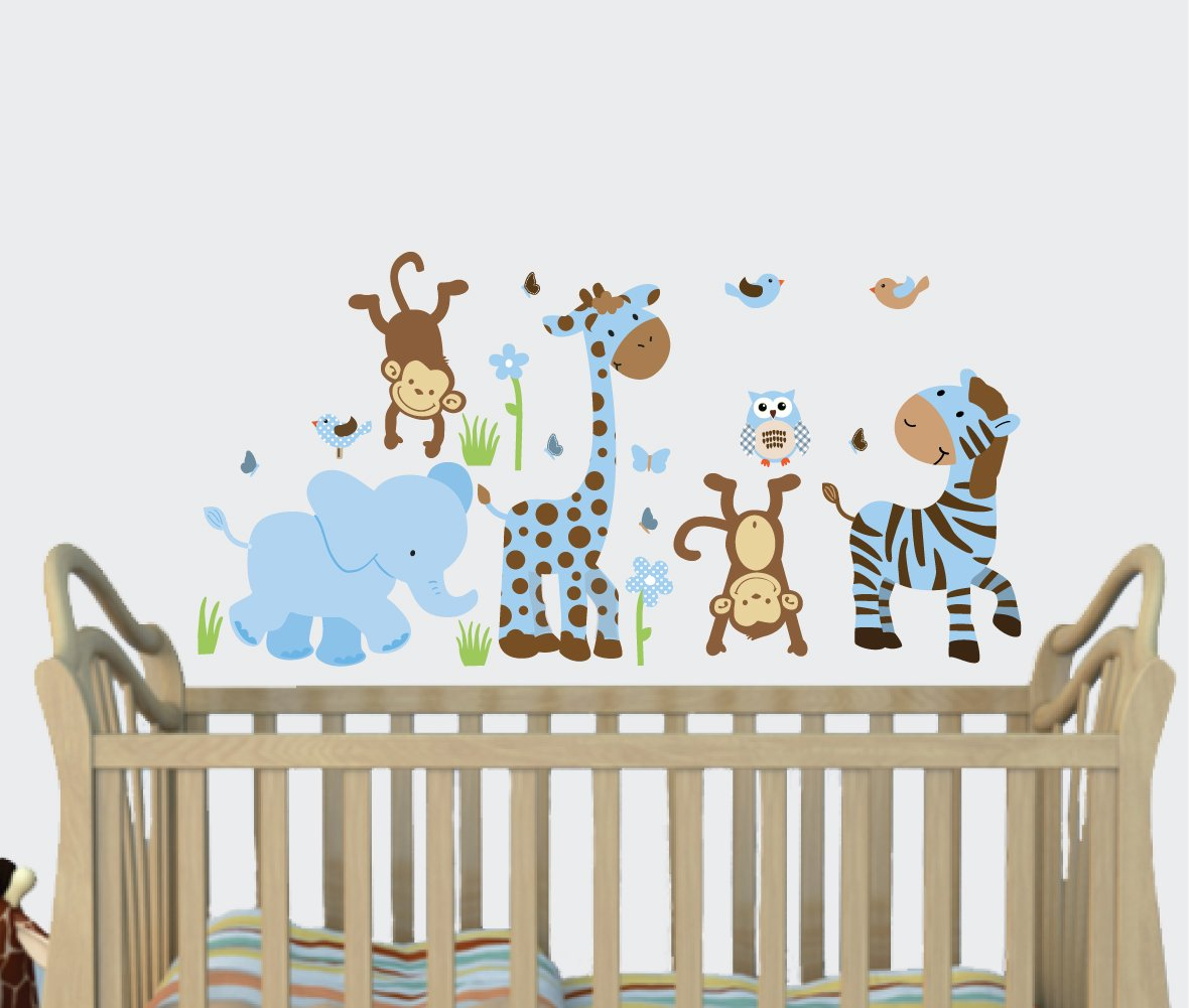 amazon com little boy blue baby boy wall decals jungle animal