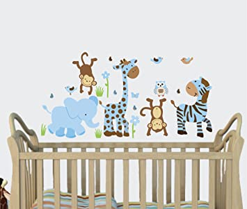 Little Boy Blue Baby Boy Wall Decals Jungle Animal Stickers Boys Nursery  sc 1 st  Amazon.com & Amazon.com: Little Boy Blue Baby Boy Wall Decals Jungle Animal ...