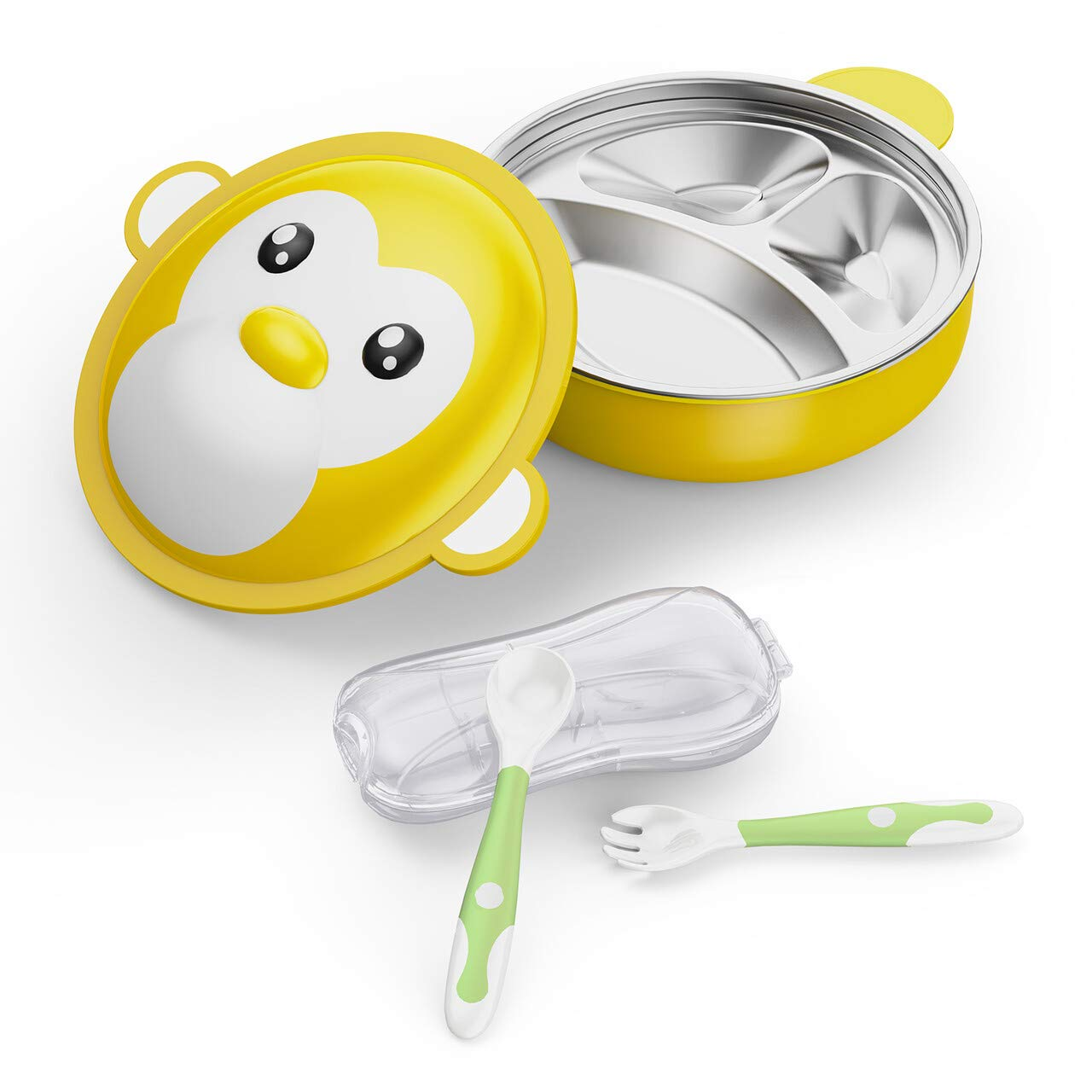 BabyKing Cartoon Monkey Baby Feeding Set, Baby Warming Bowl & Bendable Spoons Forks, Healthy Children Tableware Set for Baby Preschoolers & Little Pupils