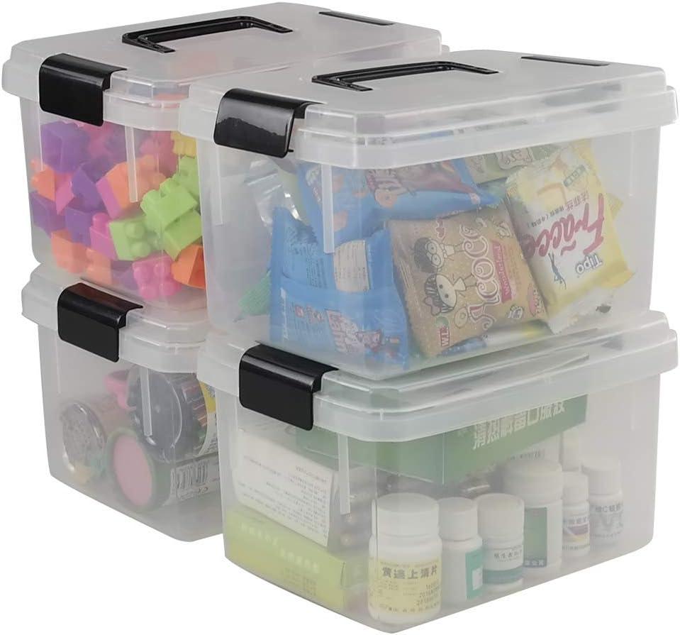 Fosly - Juego de 4 Cajas de Almacenamiento de Plástico Transparente con Clip para Tapas