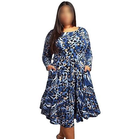 ZSRHH-Falda Vestido de Mujer Vestido con Vuelo Leopard Plus de ...