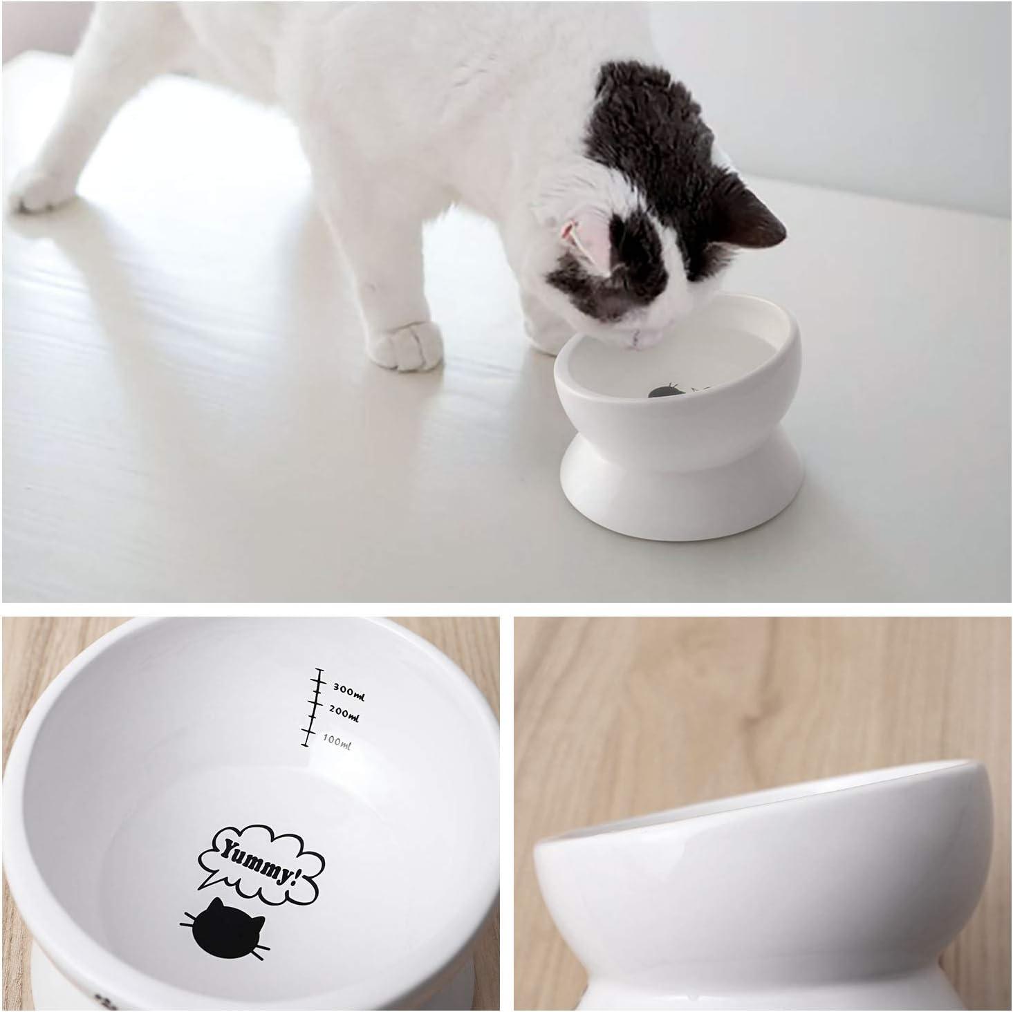 piatto bianco 440 ml Y YHY per proteggere la colonna vertebrale del gatto senza stress inclinata prevenzione del riflusso Ciotola in ceramica rialzata per gatti e gatti regalo per gatti