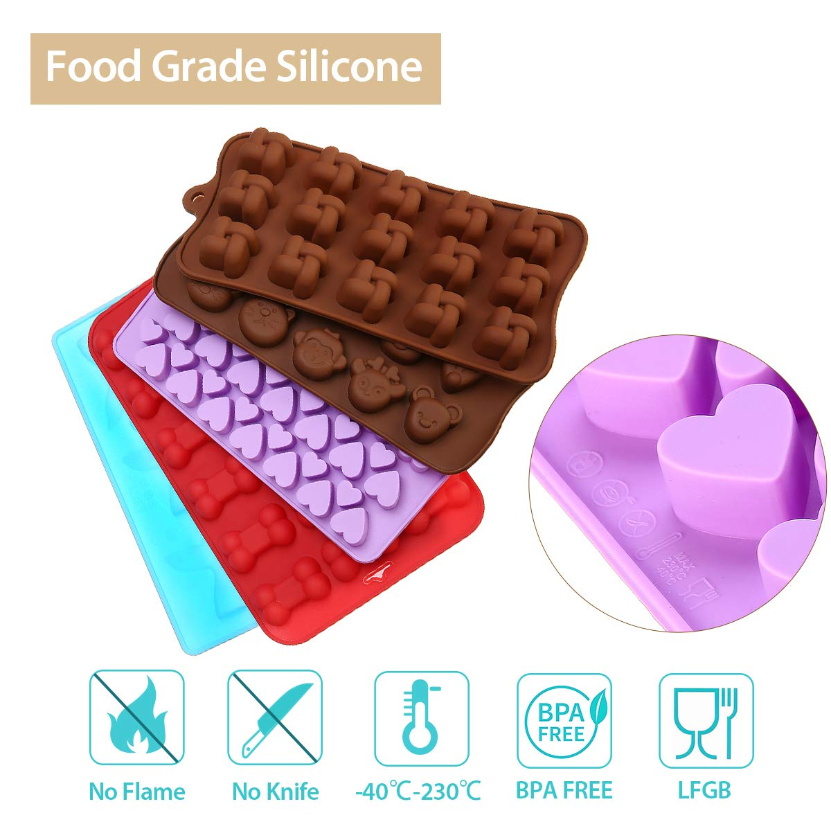 Molde de Silicona Jeteven Moldes para hacer Bombones de Chocolate Repostería Acopio Mini Galletas Cubitos de Hielo Bajones Caramelo de Chocolate (paquete de ...