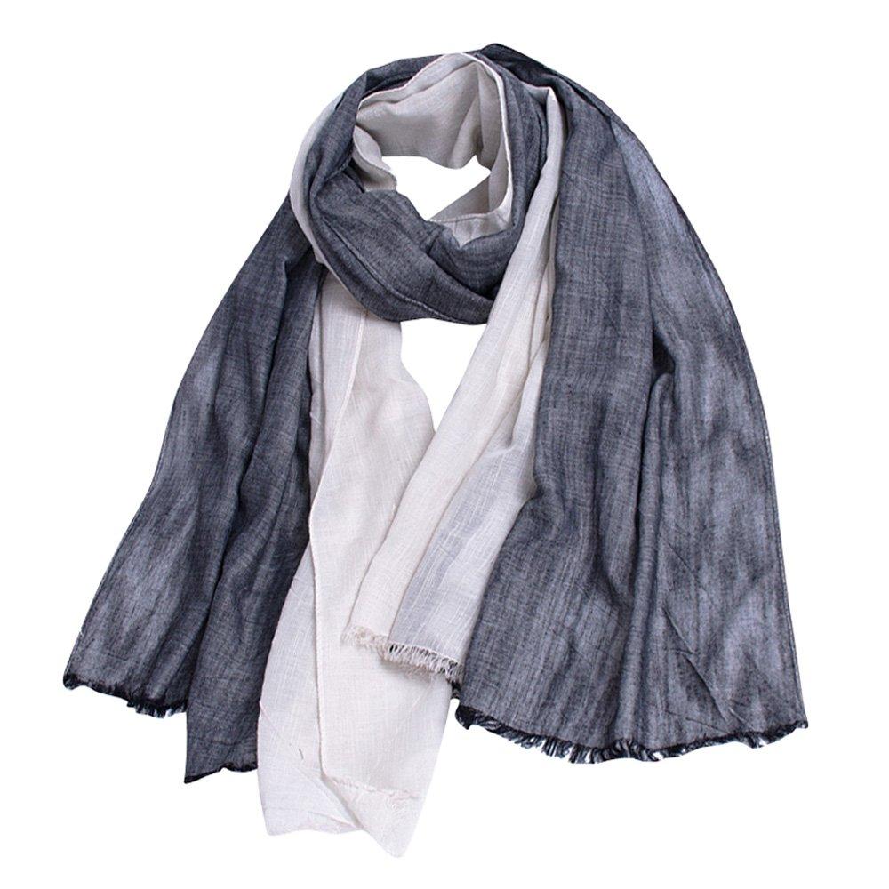 GERINLY Scarves for Mens Double Color Wrap Long Scarf Shawls (Black Beige)